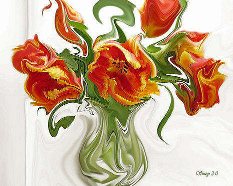 Abstract Orange Parrot Tulip Bouquet Giclee Print by Suzy 2.0