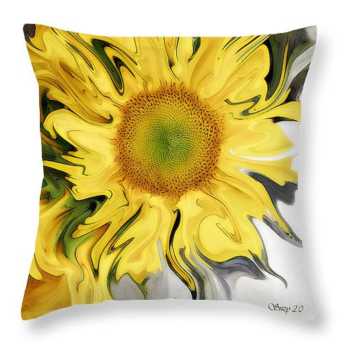 abstract yellow sunflower pillow by Suzy 2.0