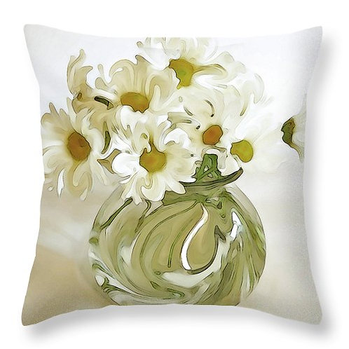 Abstract white daisy pillow by Suzy 2.0