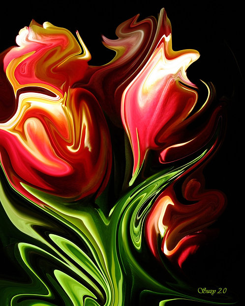 Abstract red tulips fine art print by Suzy 2.0