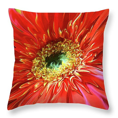 Abstract red Gerbera daisy pillow by Suzy 2.0