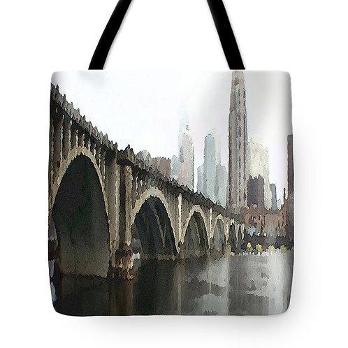 Impressionistic Minneapolis bridge tote bag by Suzy 2.0