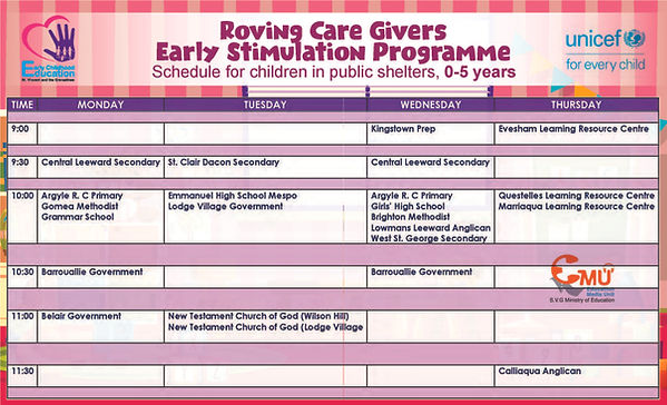 Roving Care Givers Schedule reduce size.