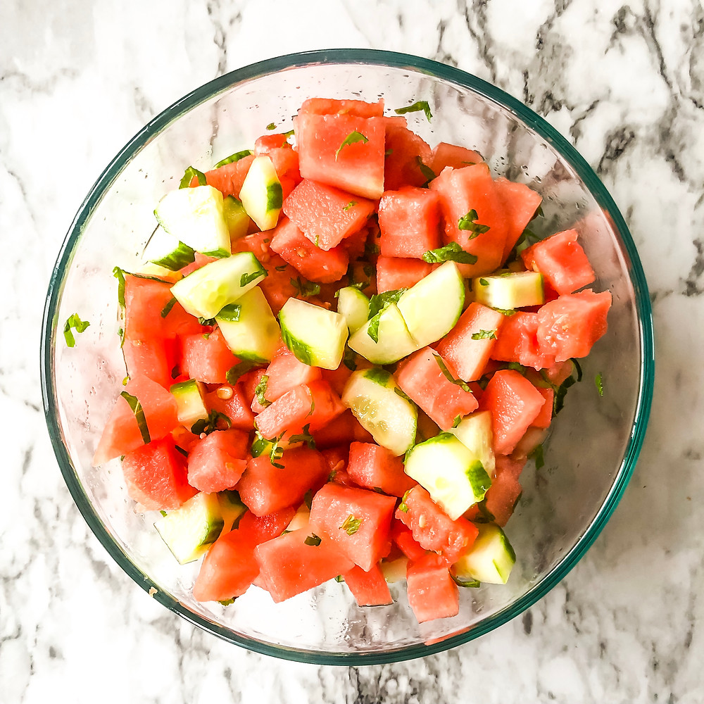 cucumber, watermelon, salad, cold salad, no cook, summer salad
