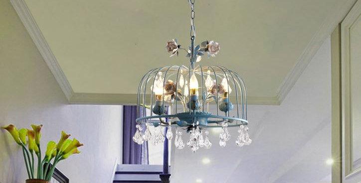 LED Bird Net Design Metal Crystal Pendant Light