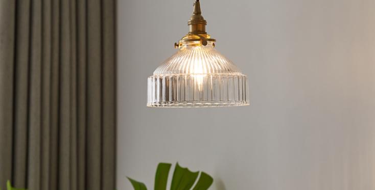 LED Japanese Style Simple Retro Brass Pendant Light