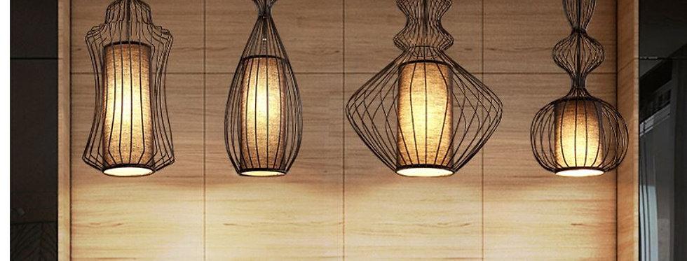 LED Metal Cloth Chinese Design Pendant Light Cage Shape