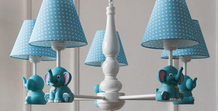 LED Metal Cloth Elephant Chandelier for Children Room