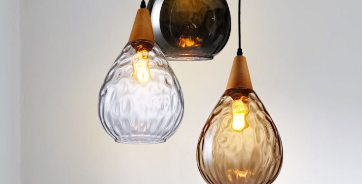 LED Water Wave Pattern Design Glass Pendant Light