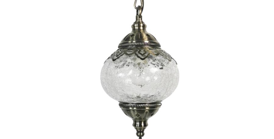 LED Glass Sphere Retro Mediterranean Style Pendant Light