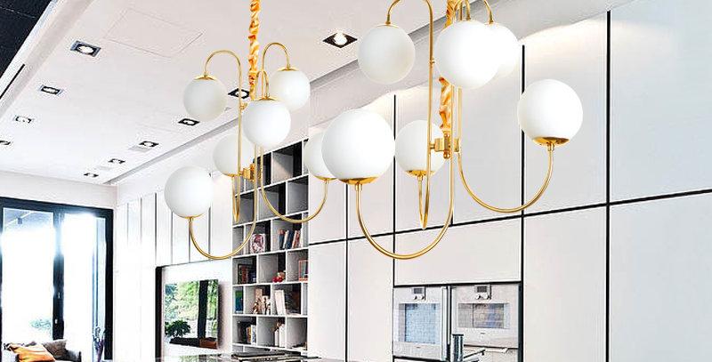 LED Metal Glass Chandelier for Living Room Bedroom