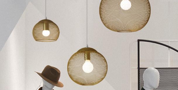 LED Golden Metal Net Pendant Light