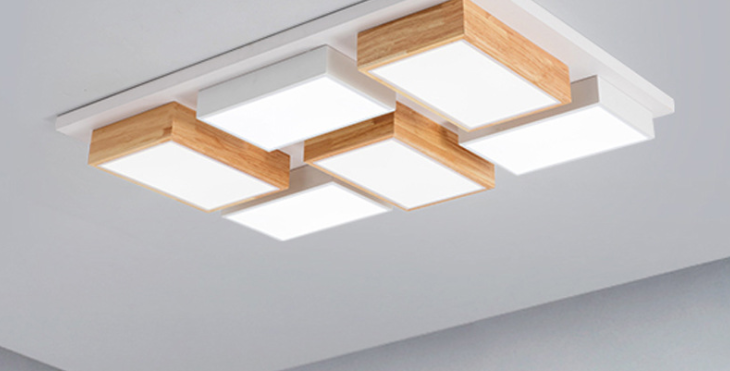 LED Modern Wood Combination Ceiling Light