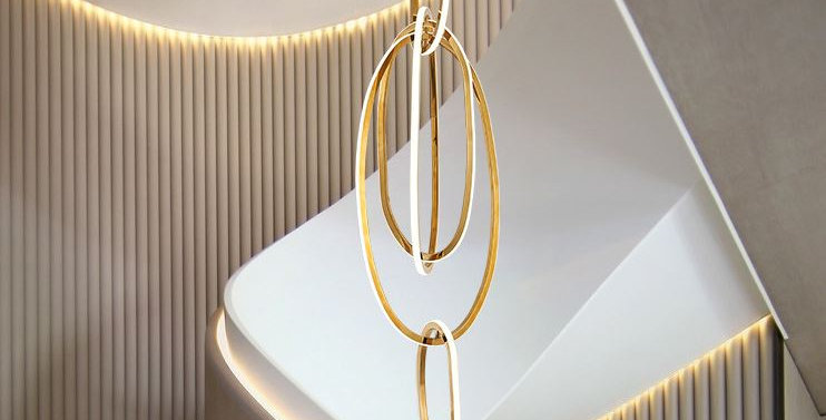LED Stainless Steel Chandelier For Staircase