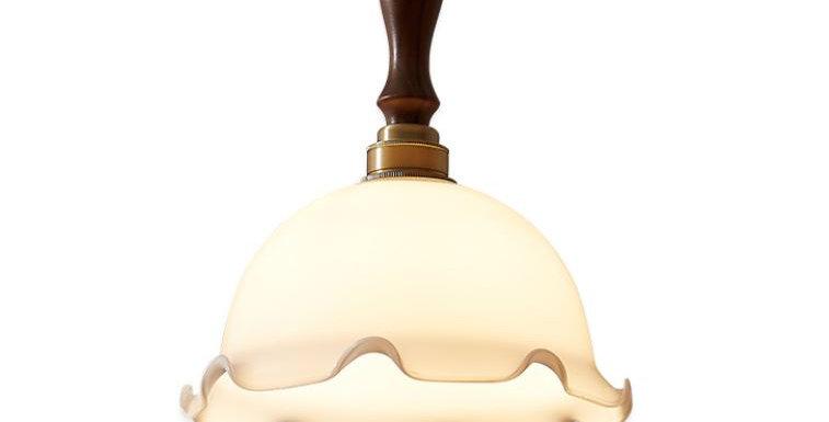 LED Japanese Design Milky Glass Pendant