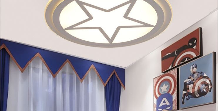 Acrylic Star American Captain Shield Ceiling Light for Living Room Bedroom