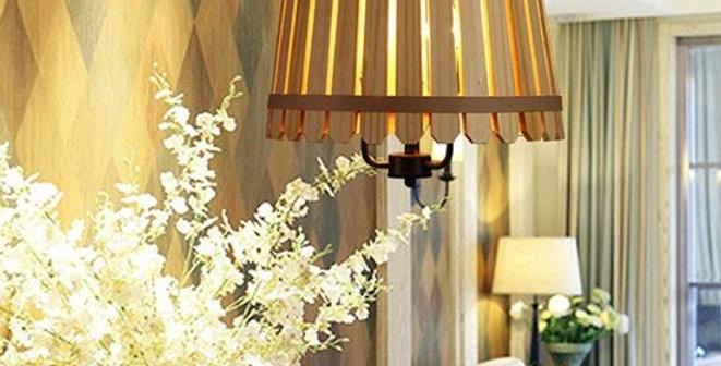 Barrel Style Wood LED Pendant Light