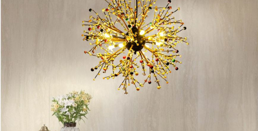 LED Metal Pendant Light Artistic with Colorful Pearl