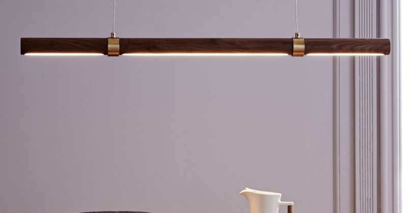 LED Wood Modern Linear Pendant Light