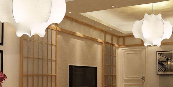 LED Japanese Style Silk Pendant Light