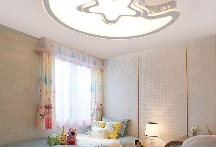 Acrylic Moon and Star Ceiling Light for Living Room Bedroom