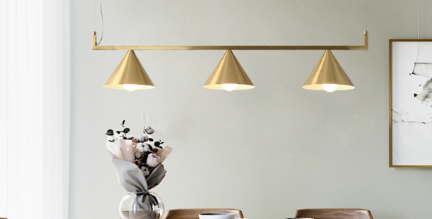 LED Triple Brass Pendant Lights Set