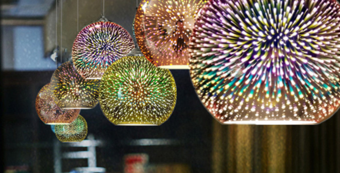 LED 3D Multi-color Glass Sphere Pendant Light