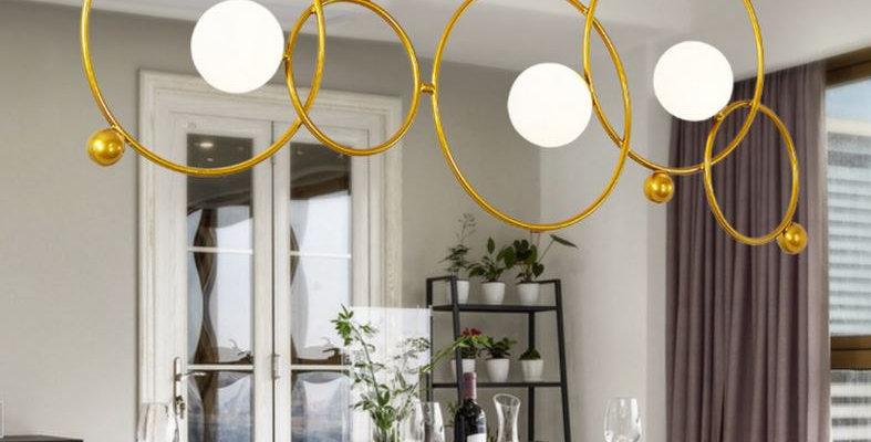 LED Postmodern Metal Glass Chandelier in American Design