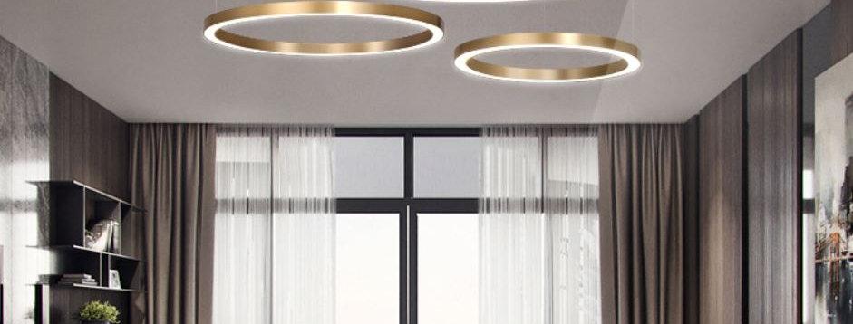 LED Gold Round Nordic Pendant Horizontal Light
