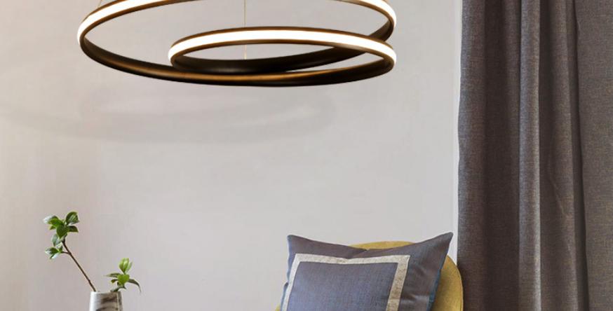LED Double Circle Postmodern Pendant Light
