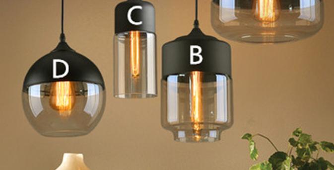 (Stock) Minimalist Style LED Glass Pandent Design C