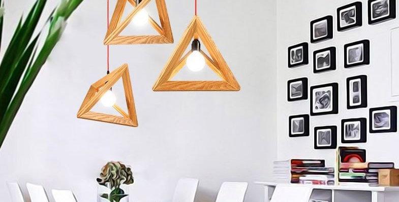 (Stock) Creative LED Wood Pyramid Pendant