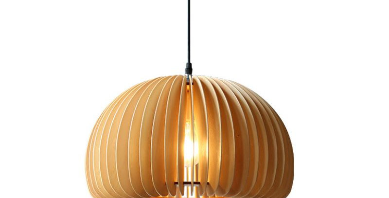 LED Wood Pumpkin Pendant Light