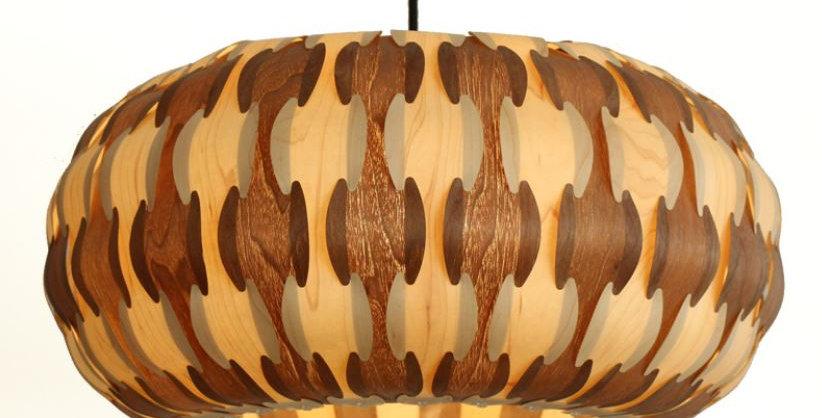 LED Wood Pendant Lantern Light Pumpkin Design