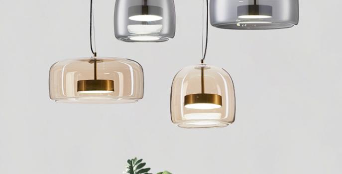 LED New Design Modern Ash & Amber Glass Pendant Light