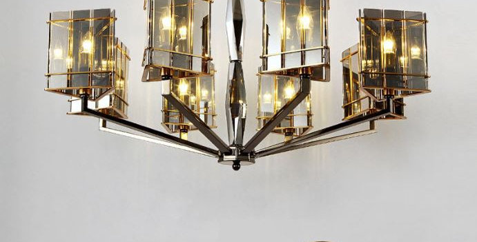 LED European Luxury Design Chandelier with Black Glass