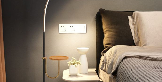 LED Curve Standing Lamp with Tea Table