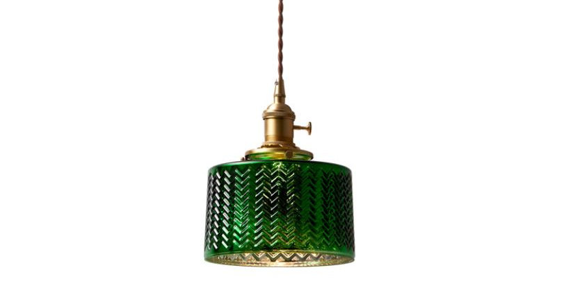 LED Retro Loft Green Glass Pendant Light
