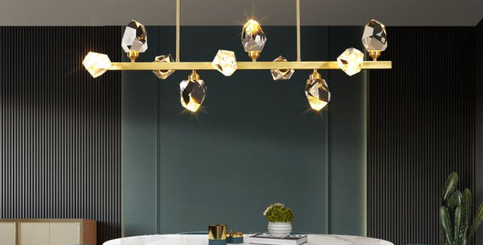 LED Multi-Light K9 Crystal Gold Pendant Light