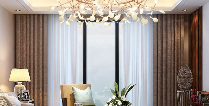 Acrylic Round Branches Design LED Chandelier for Living Room Bedroom Dining Room