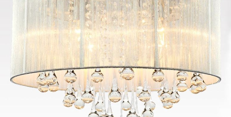 Crystal Modern Rain Drop LED Ceiling Light for Living Room Bedroom Dining Room