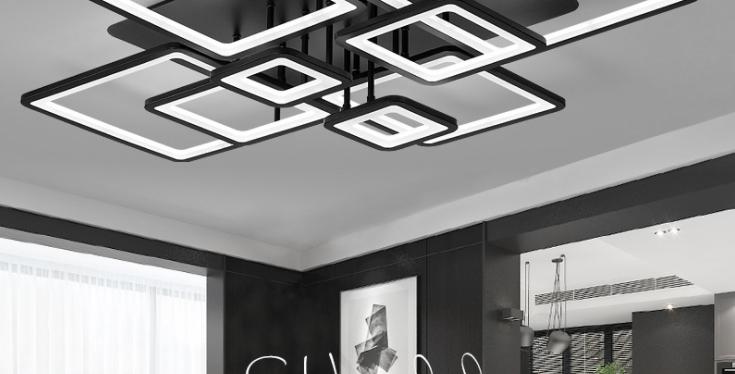 LED Modern Black & White Living Room Ceiling Light