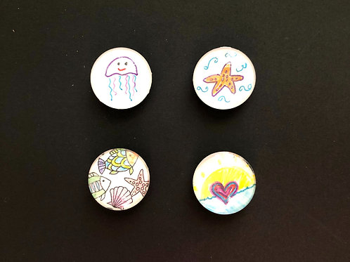 Handcrafted Glass Magnets - Set of 4