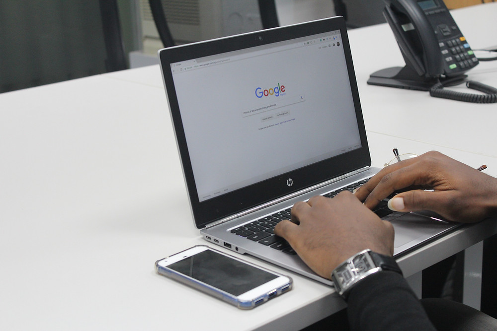 google search on lap top