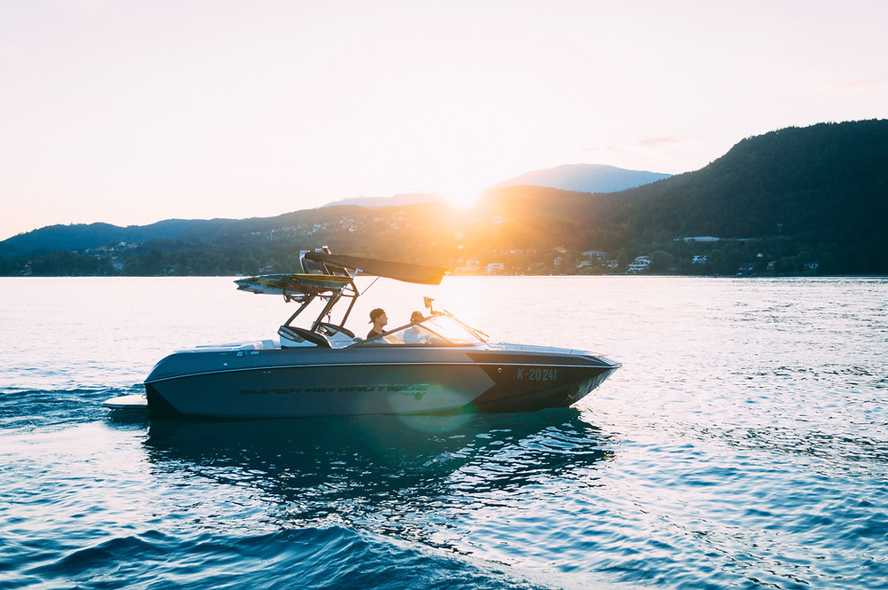 driving a boat on lake tahoe