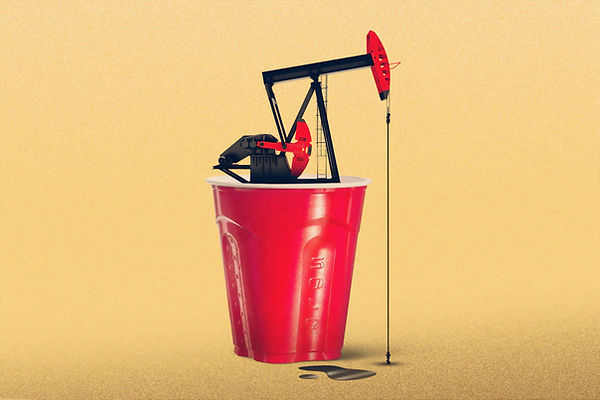 oil in red solo cup