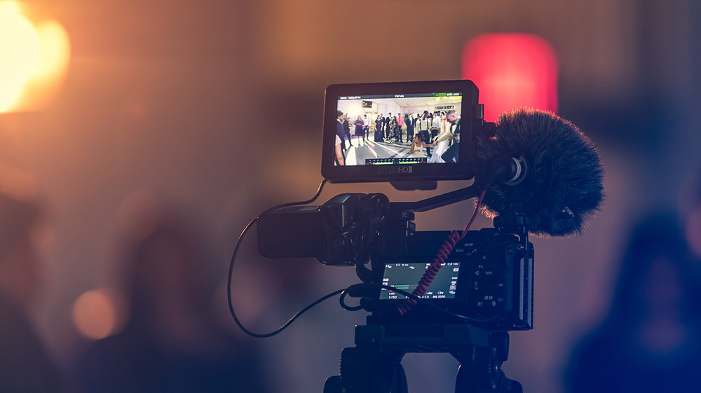 A video camera set up for recording