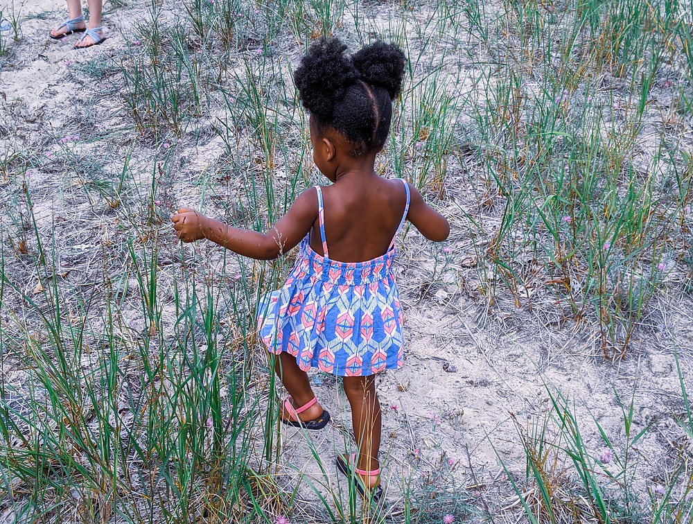 Camera facing the back of an Black or African American toddler walking through tall grass.