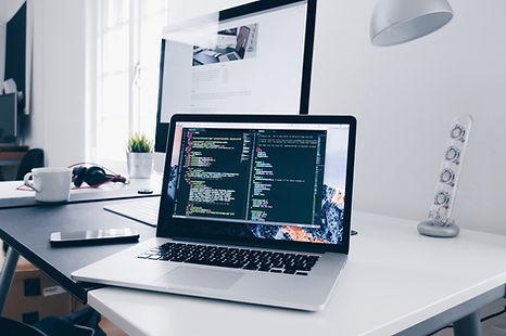 Office Desk Computer Laptop Apple iMac MacBook Display Website Data Analytics