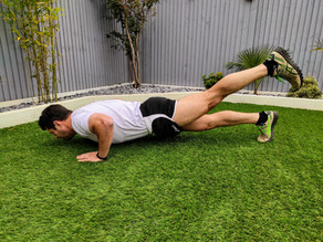 Arm push up with leg extension